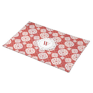Snowflakes Pattern on Red | Cloth Placemat