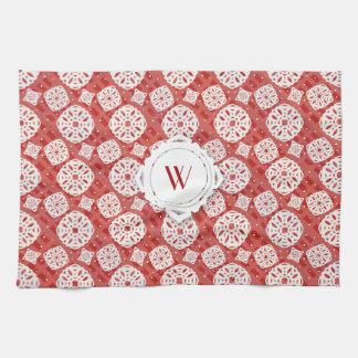 Snowflakes Pattern on Red | Kitchen Towel