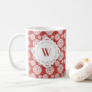 Snowflakes Pattern on Red | Mug