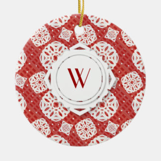 Snowflakes Pattern on Red | Ornament
