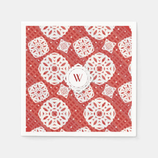 Snowflakes Pattern on Red | Paper Napkin