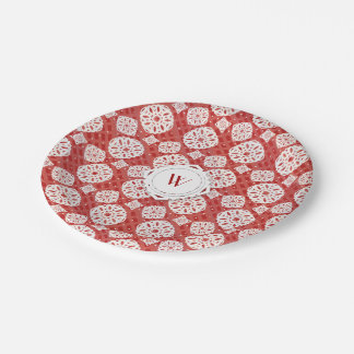 Snowflakes Pattern on Red | Paper Plate