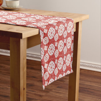 Snowflakes Pattern on Red | Table Runner