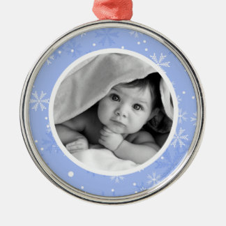 Snowflakes Pattern Photo Christmas Metal Ornament