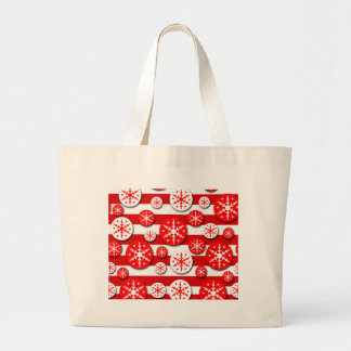 Snowflakes pattern - red and white large tote bag