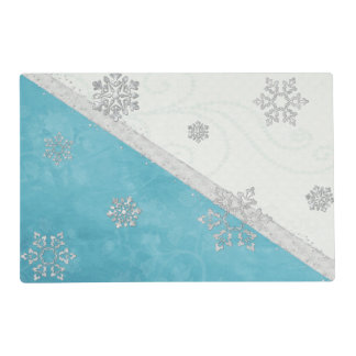 Snowflakes & Peppermint HOLIDAY Laminated Placemat