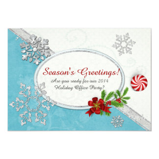 """Snowflakes & Peppermint Holiday OFFICE HOME PARTY 5"""" X 7"""" Invitation Card"""