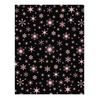 Snowflakes – Pink on Black Customized Letterhead
