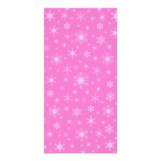 Snowflakes - Pink on Dark Pink Picture Card