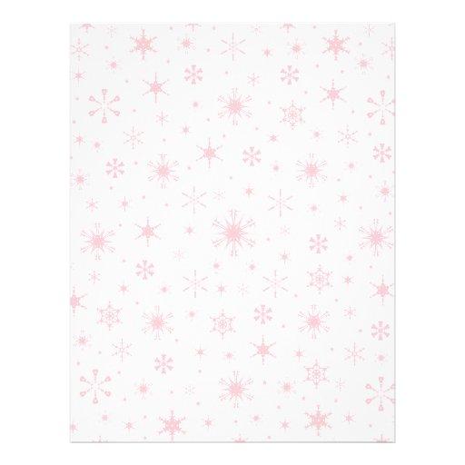 Snowflakes – Pink on White Letterhead Design
