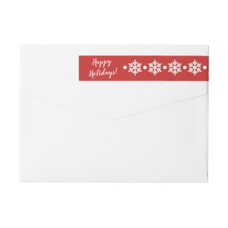Snowflakes Red Christmas Address Label