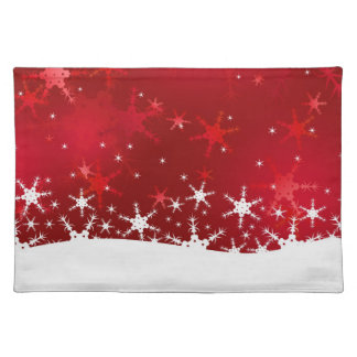 Snowflakes Red Merry Christmas - Cloth Placemat