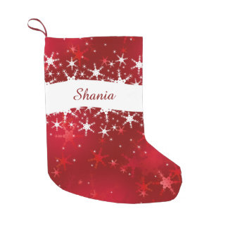 Snowflakes Red Merry Christmas - Stocking Small Christmas Stocking