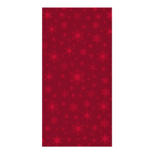 Snowflakes - Red on Dark Red Photo Card Template