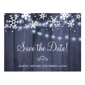Snowflakes rustic hanging lights wedding save date postcard