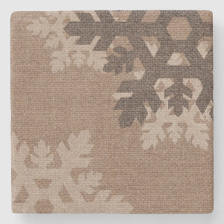 Snowflakes Rustic Style Faux Burlap Stone Coaster