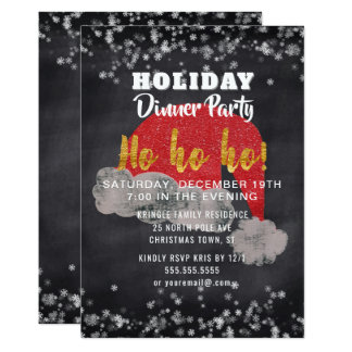 Snowflakes Santa Holiday Dinner Party Invitation