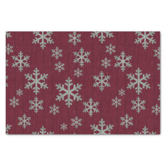 Snowflakes Silver on Rustic Red Tissue Paper