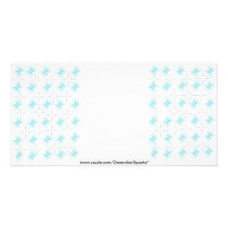 Snowflakes-silver sky blue custom photo card
