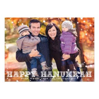 SNOWFLAKES SKETCH SCRIPT HAPPY HANUKKAH PHOTO CARD