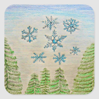 snowflakes square sticker