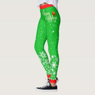 Snowflakes & Stars Happy Holidays (editable) Leggings