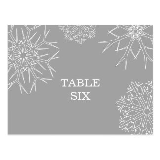 Snowflakes Table Number Postcard - Silver