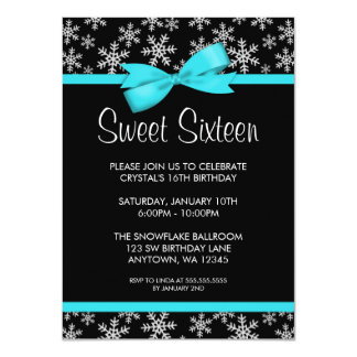 "Snowflakes Teal Bow Winter Wonderland Sweet 16 4.5"" X 6.25"" Invitation Card"