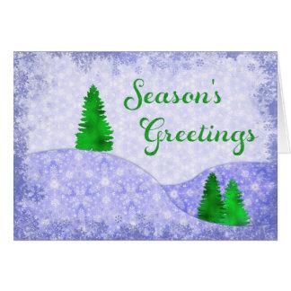 Snowflakes & Trees Kaleidoscope Design Christmas Card