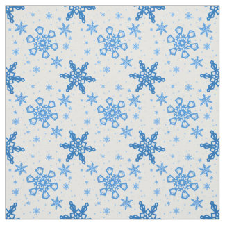 Snowflakes Turquoise on White Fabric