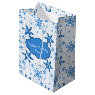 Snowflakes Turquoise on White Medium Gift Bag