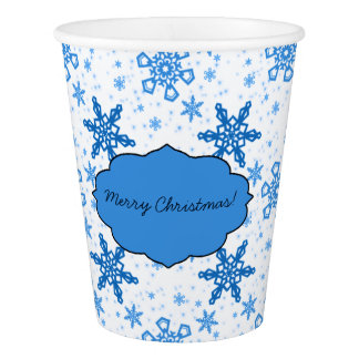 Snowflakes Turquoise on White Paper Cup