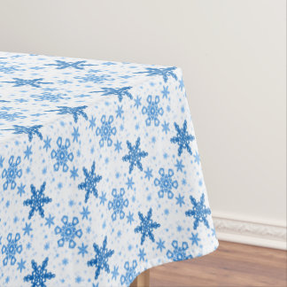Snowflakes Turquoise on White Tablecloth