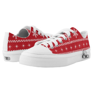 Snowflakes Ugly Christmas Sweater Novelty Print Low-Top Sneakers