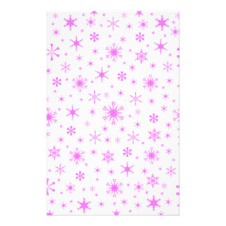 Snowflakes – Ultra Pink on White Personalized Stationery