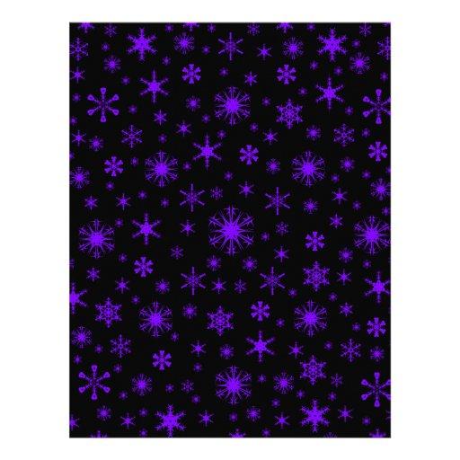 Snowflakes – Violet on Black Letterhead Template