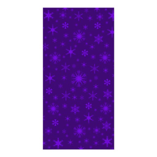 Snowflakes - Violet on Dark Violet Personalized Photo Card