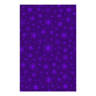 Snowflakes – Violet on Dark Violet Customized Stationery
