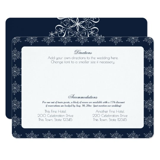 Snowflakes Wedding Information Card Navy Blue