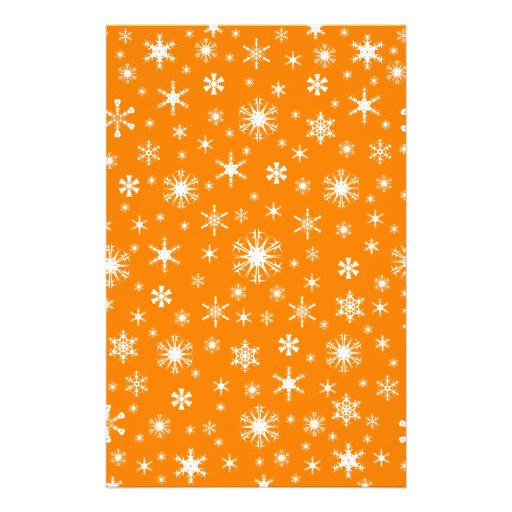 Snowflakes – White on Amber Stationery Design