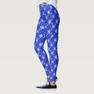 Snowflakes White on Blue Leggings