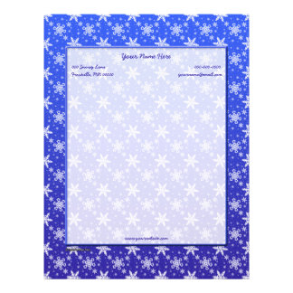 Snowflakes White on Blue Letterhead Design