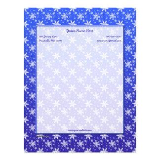 Snowflakes White on Blue Letterhead Design