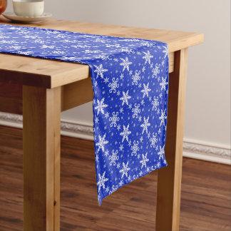 Snowflakes White on Blue Medium Table Runner
