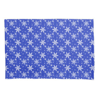 Snowflakes White on Blue Pillowcase