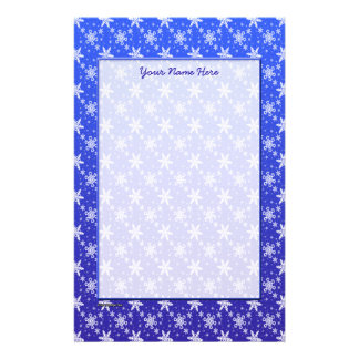 Snowflakes White on Blue Stationery Design