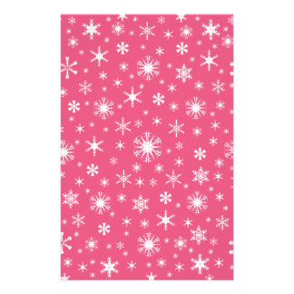 Snowflakes – White on Dark Pink Stationery Paper