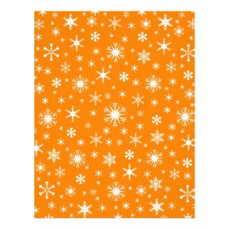 Snowflakes – White on Orange Personalized Letterhead