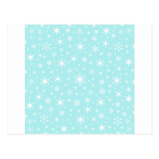 Snowflakes – White on Pale Blue Postcards