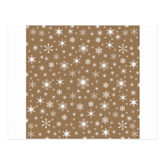 Snowflakes – White on Pale Brown Postcards
